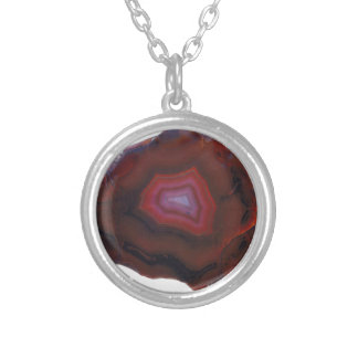 Red Agate Silver Plated Necklace