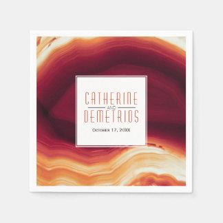 Red agate slice geode modern autumn wedding disposable napkin