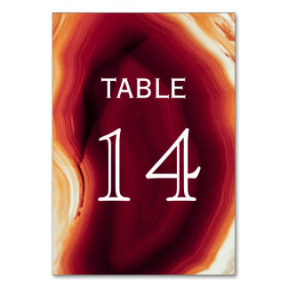 Red agate slice geode wedding table number card table cards