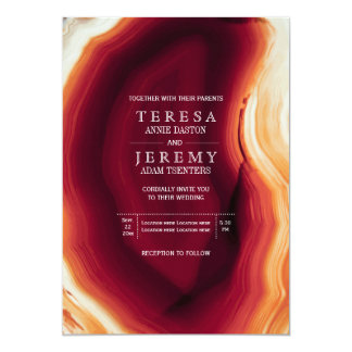 "Red agate slice in fall colors modern wedding 5"" x 7"" invitation card"