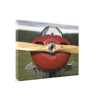 Red Airplane and Wooden Propeller Wrapped Canvas