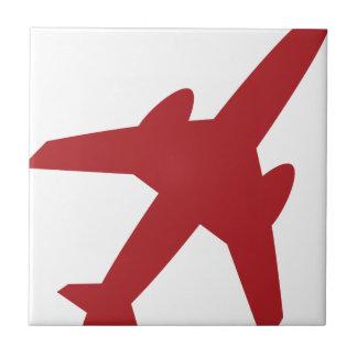 Red Airplane Icon Ceramic Tiles