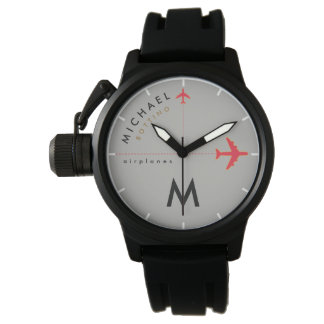 red airplanes with initial & name of the pilot watch