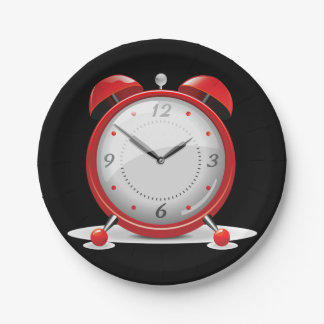 Red Alarm Clock Paper Plates
