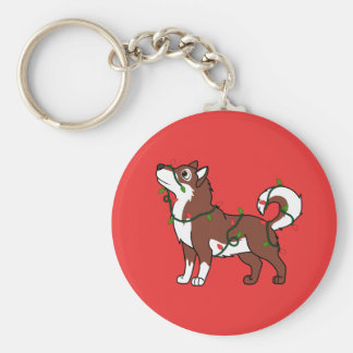 Red Alaskan Malamute with Christmas Lights Basic Round Button Keychain