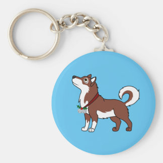 Red Alaskan Malamute with Silver Jingle Bells Basic Round Button Keychain