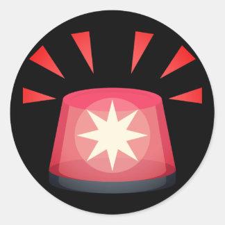Red Alert Light Emoji Classic Round Sticker