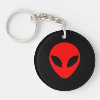 Red Alien Head Double-Sided Round Acrylic Keychain