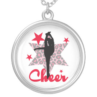 Red Allstar Cheerleader Silver Plated Necklace