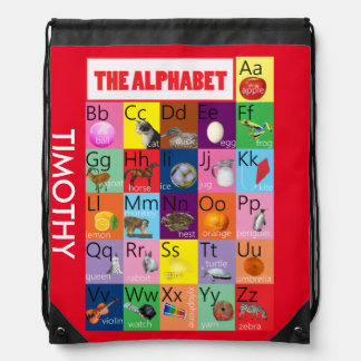 Red Alphabet name labelled library bag