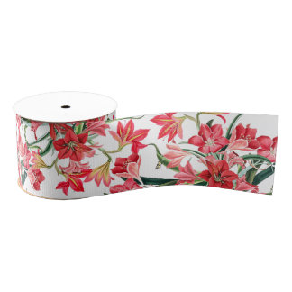 Red Amarylis Floral Flowers Garden Ribbon Grosgrain Ribbon