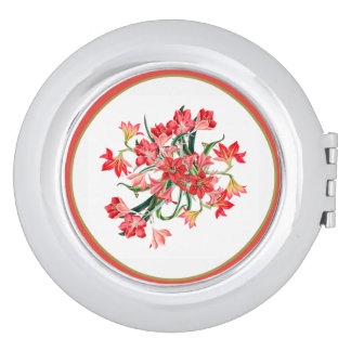 Red Amarylis Flowers Floral Compact Mirror