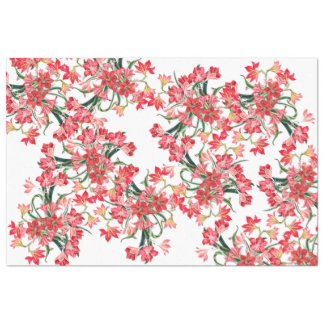 Red Amarylis Flowers Floral Tissue Paper