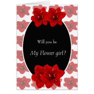 Red Amaryllis Flower girl Card