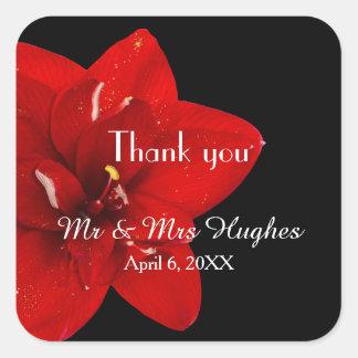 Red Amaryllis flower wedding thank you stickers