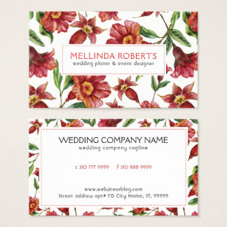 Red Amaryllis Flowers Seamless Pattern Business Card