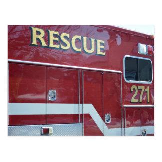 Red Ambulance Closeup Postcard