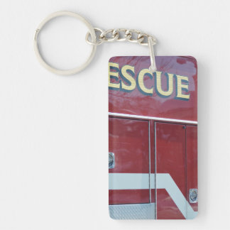 Red Ambulance Closeup Single-Sided Rectangular Acrylic Keychain