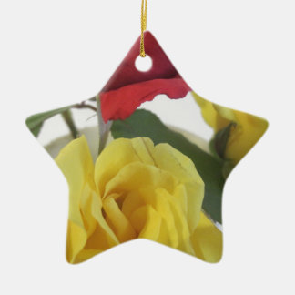 Red amd Yellow Roses Ceramic Star Ornament