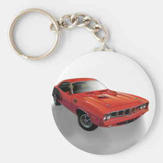 Red American muscle car Basic Round Button Keychain
