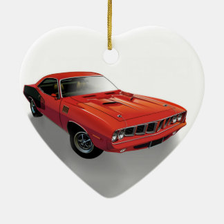Red American muscle car Ceramic Heart Ornament