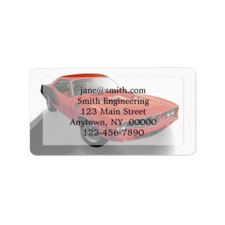 Red American muscle car Label