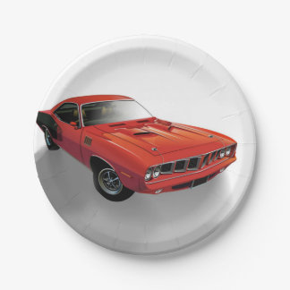 Red American muscle car Paper Plate