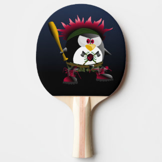 Red Anarchy Penguin Ping Pong Paddle