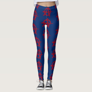 Red Anarchy Symbol on Blue Leggings