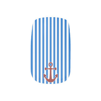 Red Anchor and Blue/White Stripes Fingernail Decals
