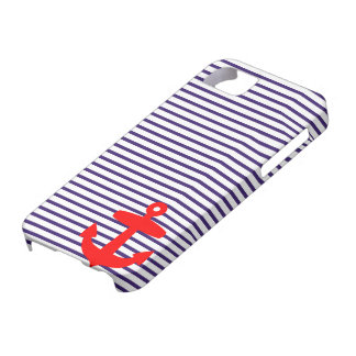 Red Anchor and Navy Blue Sailor Stripes iPhone 5 Covers