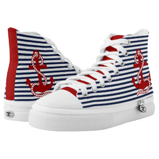 Red Anchor and White Navy Blue Printed Shoes