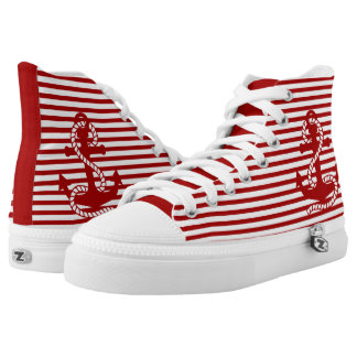 Red Anchor and White Red Stripes Printed Shoes