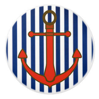 Red Anchor Blue Striped  Nautical Cabinet Knob