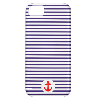 Red Anchor circle and Navy Blue Sailor Stripes iPhone 5C Covers