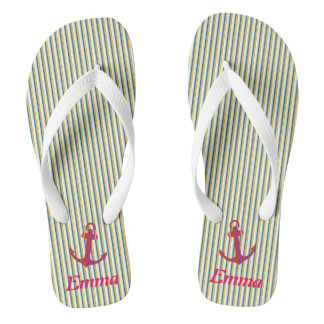 Red Anchor Green Stripes Specialized Tropical Flip Flops