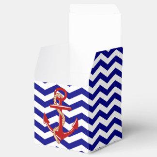 Red Anchor Nautical Chevron Stripes Favor Boxes