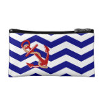 Red Anchor Nautical Chevron Stripes Makeup Bags