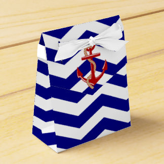 Red Anchor Nautical Chevron Stripes Wedding Favor Boxes