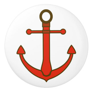 Red Anchor Nautical Themed Cabinet Knob