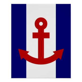 Red Anchor navy & white stripes print poster