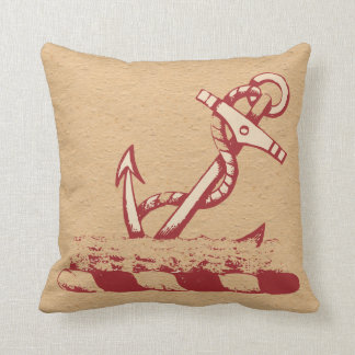 Red Anchor on a Nubby Tan Background Pillow