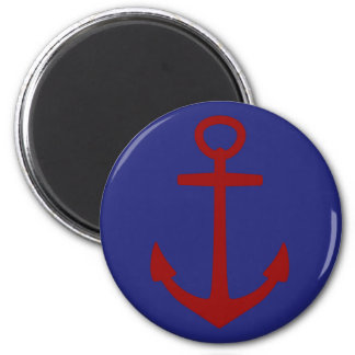Red Anchor on Blue Nautical 2 Inch Round Magnet