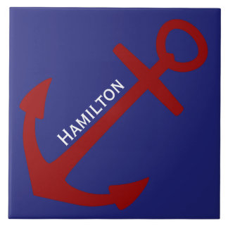Red Anchor on Blue Nautical Personalized Ceramic Tile