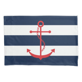 Red Anchor on Blue Stripes Pillowcase