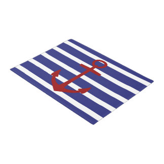 Red Anchor on Nautical Blue and White Stripes Doormat