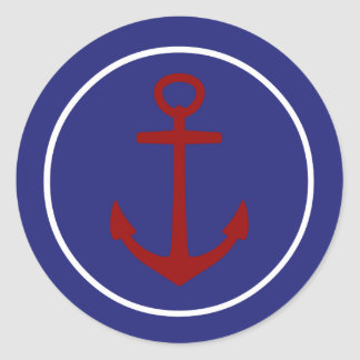 Red Anchor on Nautical Blue Background Classic Round Sticker