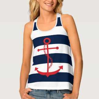 Red Anchor on Navy Blue Stripes Tank Top