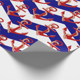 Red Anchors Nautical Chevron Stripes Pattern Wrapping Paper