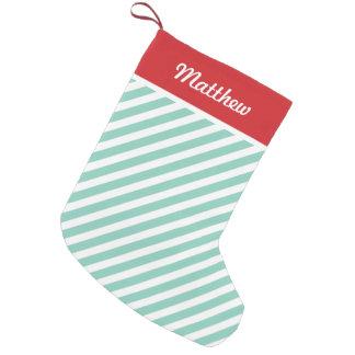Red and Aqua Holiday Stripes Monogram Small Christmas Stocking